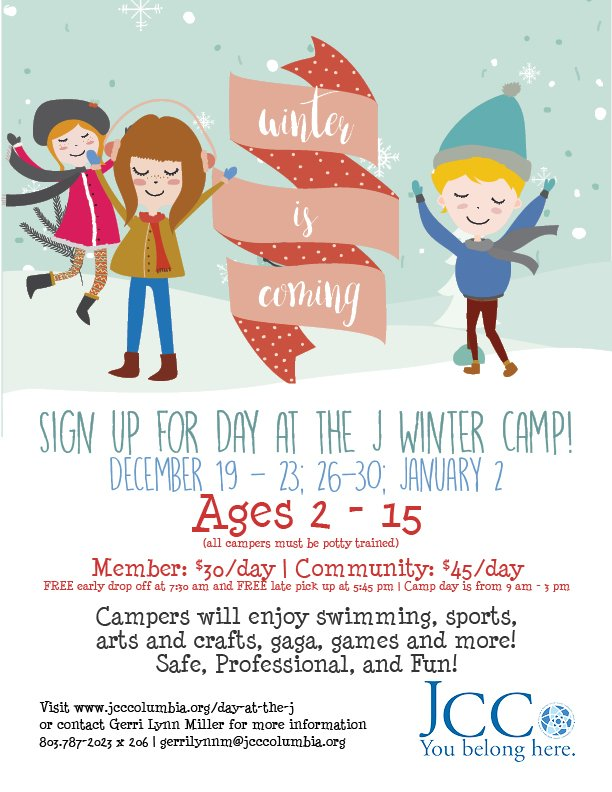 JCC Winter Camp : December 19-23; 26-30; January 2. Ages 2 - 15.